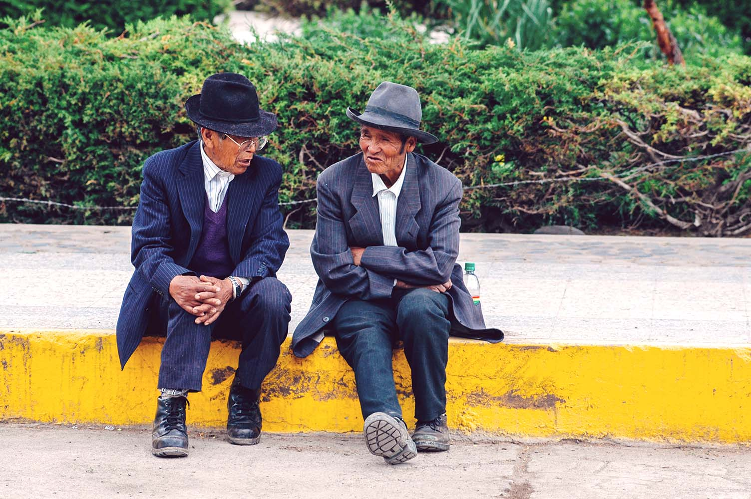 AREQUIPA, PERU - FEBRUARY 04: Unidentified locals on the main pl