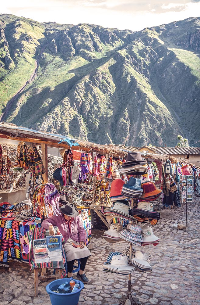 OLLANTAYTAMBO, PERU - DECEMBER 09: Old Inca fortress and market