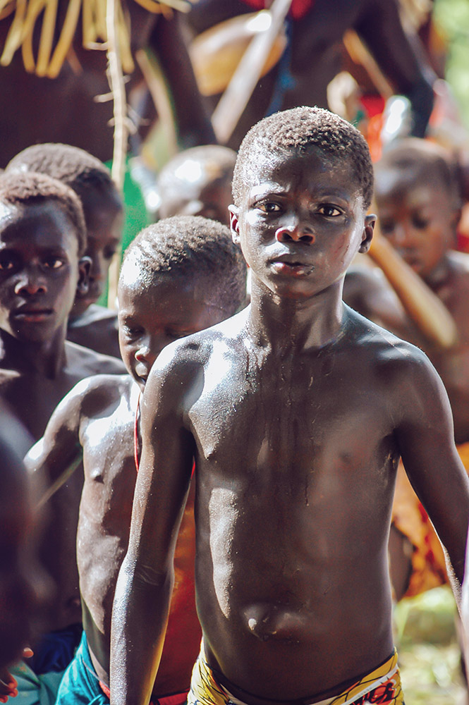 SENEGAL - SEPTEMBER 19: Men and kids in the traditional struggle