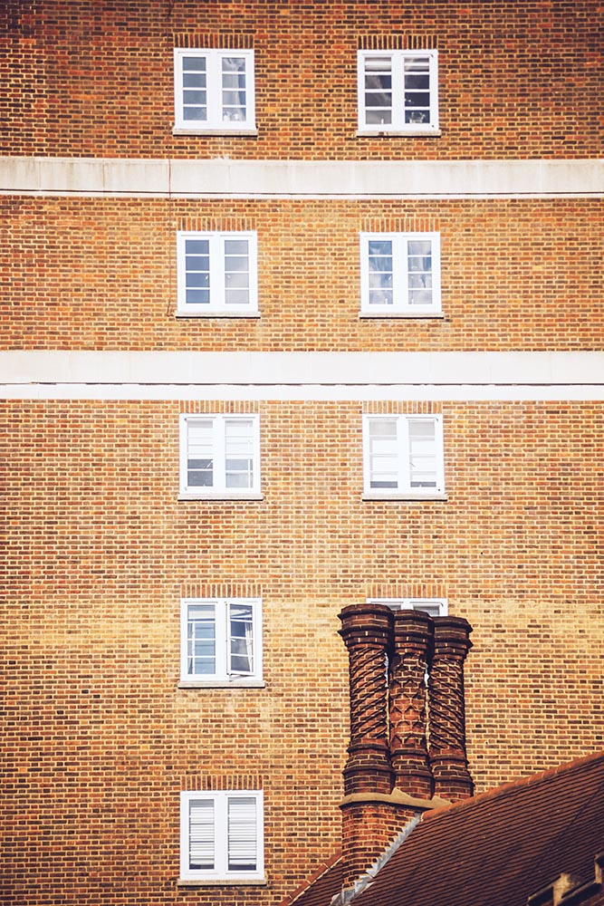 Brick block of flats.