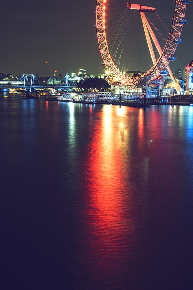 London eye with reflections on water