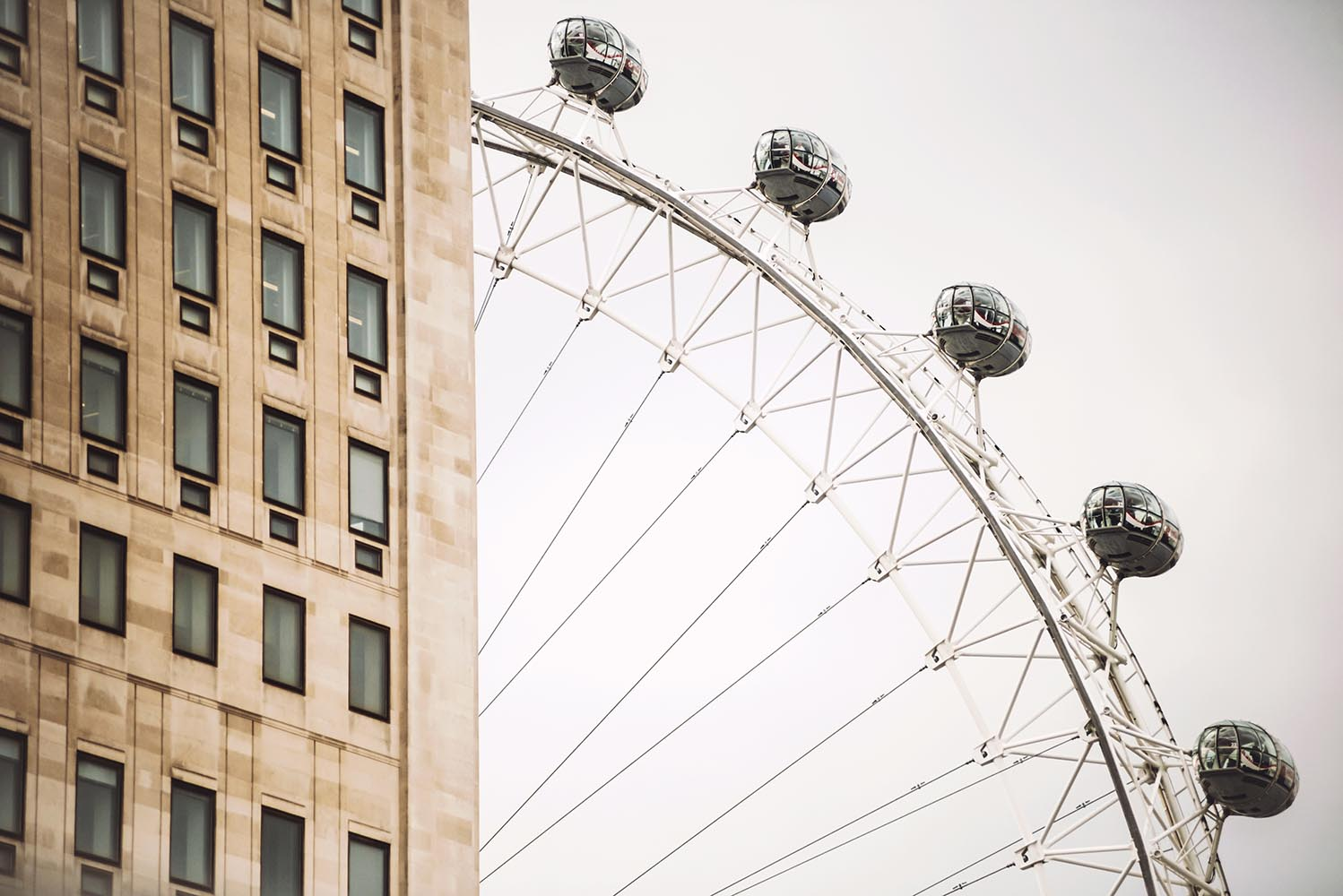 LONDON, UK - OCTOBER 14, 2016: Close-up of the London Eye. The L