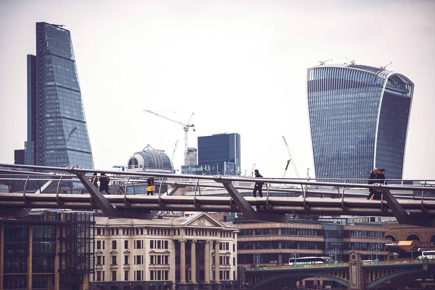 Skyline view of London's conceptual glass skyscrapers and pedest