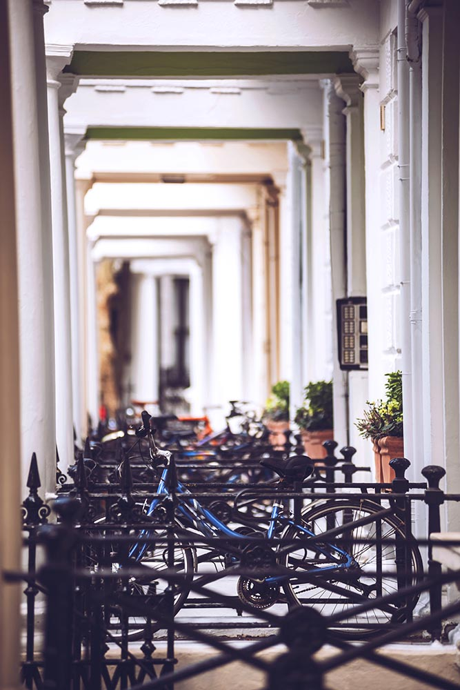 Bicycle outside house.