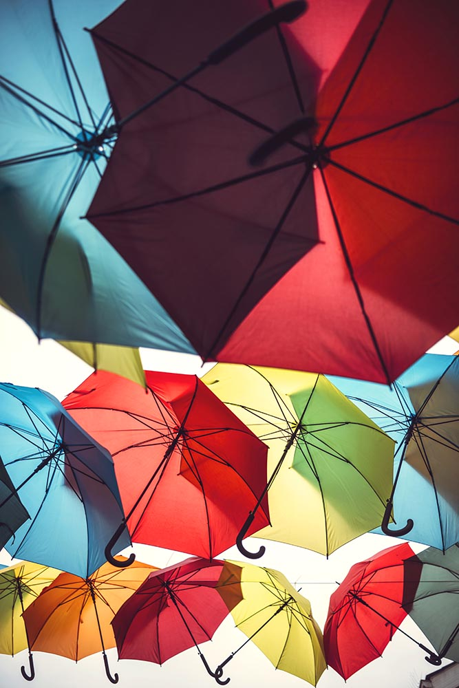 Bunch of colorful umbrellas