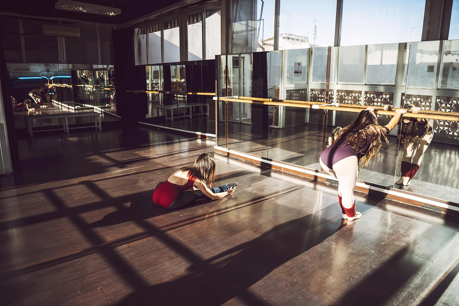 Women stretching in studio
