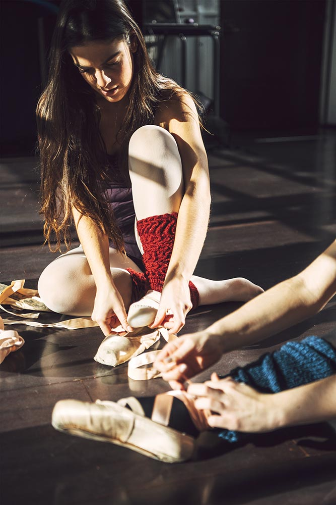 Professional dancers in ballet shoes