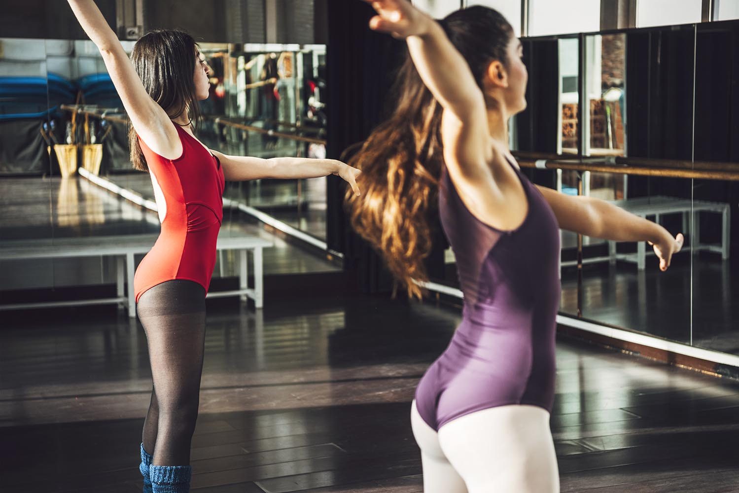 Young ballerinas training together