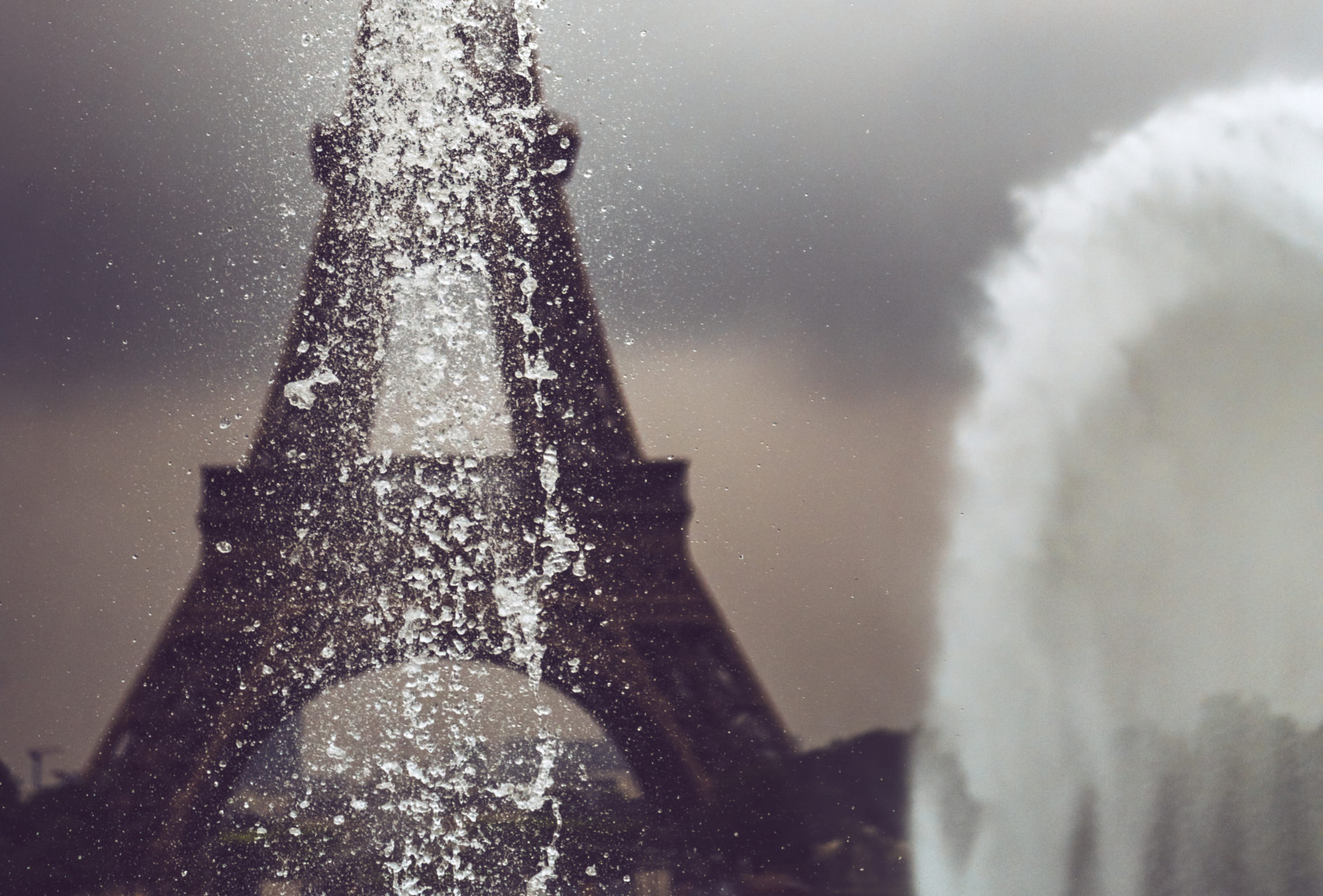 Eiffel Tower fand fountain in Paris, France