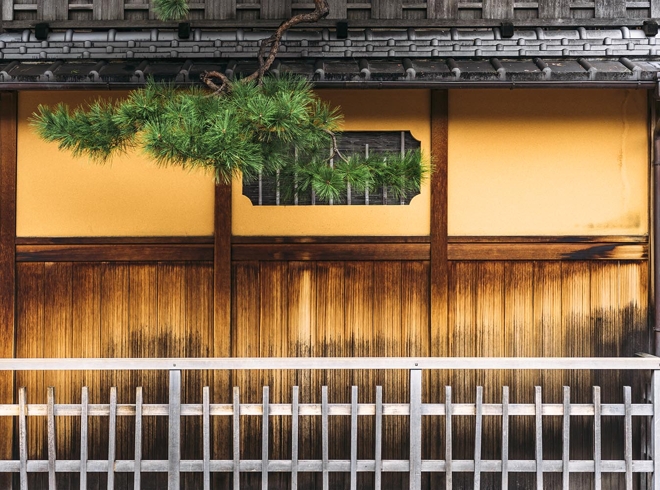 Wall of a traditional japanese house in Kyoto, Japan