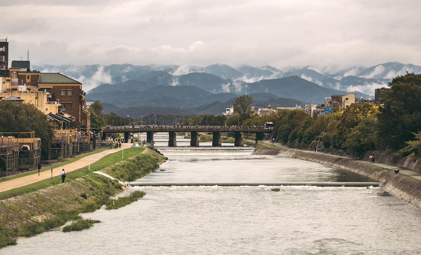 Bridge and mountains in Kyoto, Japan